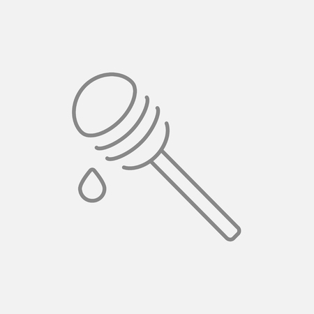 dipper: Honey dipper line icon for web, mobile and infographics. Vector dark grey icon isolated on light grey background.
