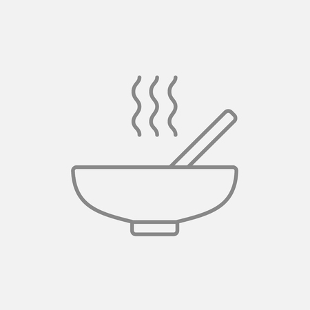 broth: Bowl of hot soup with spoon line icon for web, mobile and infographics. Vector dark grey icon isolated on light grey background.