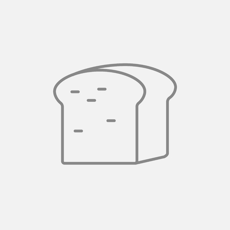 wholemeal: Half of bread line icon for web, mobile and infographics. Vector dark grey icon isolated on light grey background.