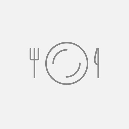 meat chopper: Plate with cutlery line icon for web, mobile and infographics. Vector dark grey icon isolated on light grey background.