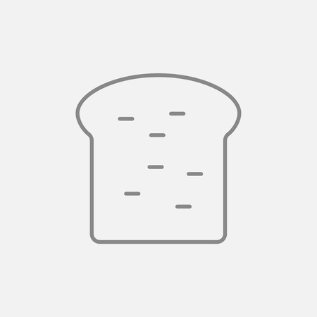 wholemeal: Single slice of bread line icon for web, mobile and infographics. Vector dark grey icon isolated on light grey background.
