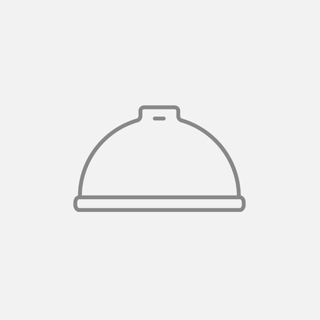 Restaurant cloche line icon for web, mobile and infographics. Vector dark grey icon isolated on light grey background.