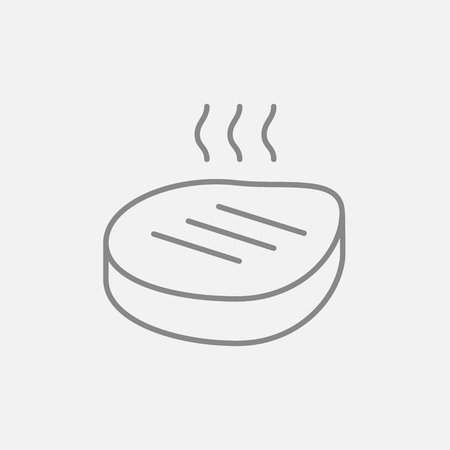 Grilled steak line icon for web, mobile and infographics. Vector dark grey icon isolated on light grey background.