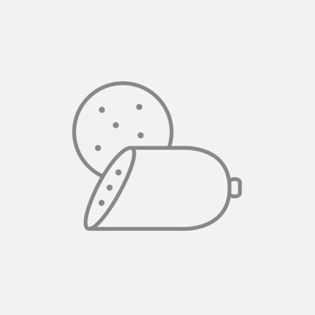 Sliced wurst line icon for web, mobile and infographics. Vector dark grey icon isolated on light grey background.