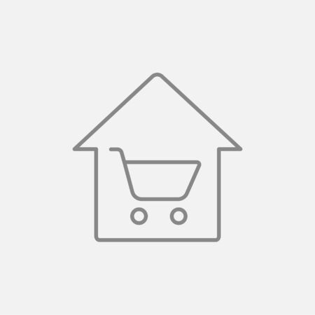 house shopping: House shopping line icon for web, mobile and infographics. Vector dark grey icon isolated on light grey background.