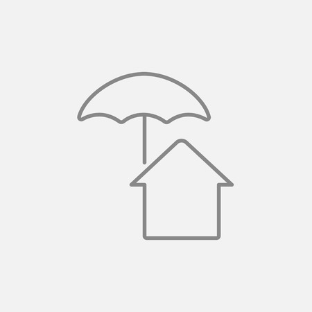 belay: House insurance line icon for web, mobile and infographics. Vector dark grey icon isolated on light grey background. Illustration
