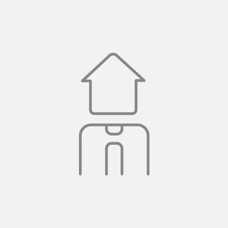 renter: Real estate agent line icon for web, mobile and infographics. Vector dark grey icon isolated on light grey background.