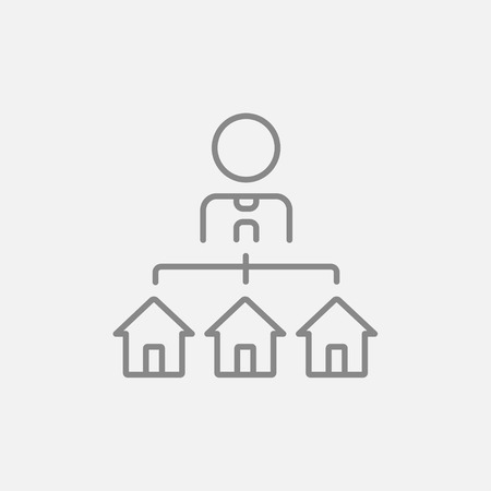 renter: Real estate agent with three houses line icon for web, mobile and infographics. Vector dark grey icon isolated on light grey background.