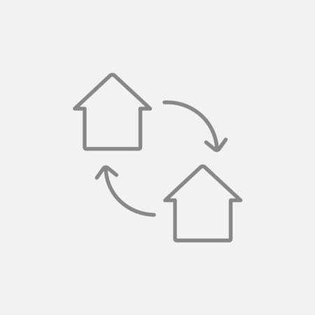 house exchange: House exchange line icon for web, mobile and infographics. Vector dark grey icon isolated on light grey background. Illustration