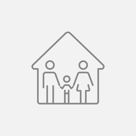 family isolated: Family house line icon for web, mobile and infographics. Vector dark grey icon isolated on light grey background. Illustration
