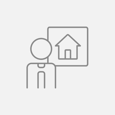 possession: Real estate agent line icon for web, mobile and infographics. Vector dark grey icon isolated on light grey background.