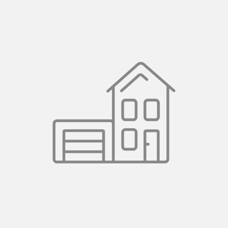 domestic garage: House with garage line icon for web, mobile and infographics. Vector dark grey icon isolated on light grey background.
