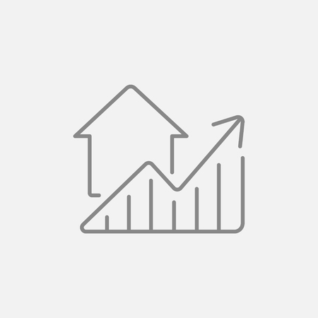 grey: Graph of real estate prices growth line icon for web, mobile and infographics. Vector dark grey icon isolated on light grey background.