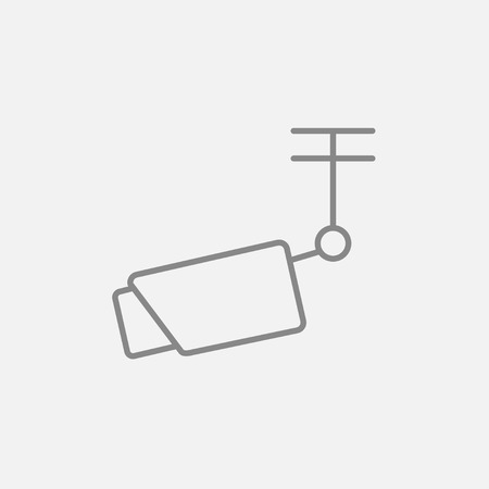 Outdoor surveillance camera line icon for web, mobile and infographics. Vector dark grey icon isolated on light grey background. Illustration