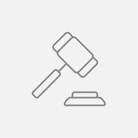 auction gavel: Auction gavel line icon for web, mobile and infographics. Vector dark grey icon isolated on light grey background.