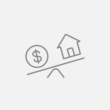 weigher: House and dollar symbol on scales line icon for web, mobile and infographics. Vector dark grey icon isolated on light grey background. Illustration