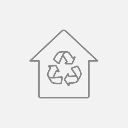 House with recycling symbol line icon for web, mobile and infographics. Vector dark grey icon isolated on light grey background. Illustration
