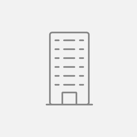 multi storey: Residential building line icon for web, mobile and infographics. Vector dark grey icon isolated on light grey background. Illustration