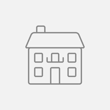 detached: Two storey detached house line icon for web, mobile and infographics. Vector dark grey icon isolated on light grey background. Illustration