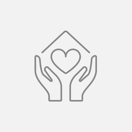 hands holding house: Hands holding house symbol with heart shape line icon for web, mobile and infographics. Vector dark grey icon isolated on light grey background. Illustration