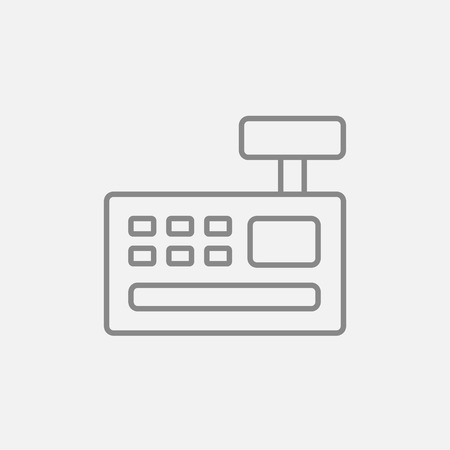 retail display: Cash register machine line icon for web, mobile and infographics. Vector dark grey icon isolated on light grey background.