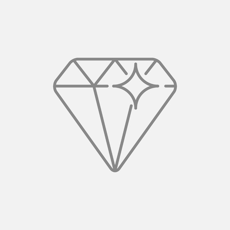 adamant: Diamond line icon for web, mobile and infographics. Vector dark grey icon isolated on light grey background.