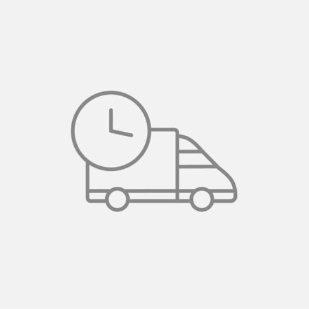 auto service: Delivery truck line icon for web, mobile and infographics. Vector dark grey icon isolated on light grey background. Illustration