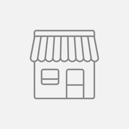 awnings: Shop line icon for web, mobile and infographics. Vector dark grey icon isolated on light grey background.