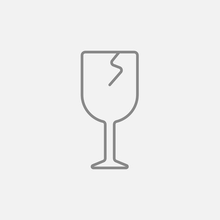 cracked glass: Cracked glass line icon for web, mobile and infographics. Vector dark grey icon isolated on light grey background. Illustration