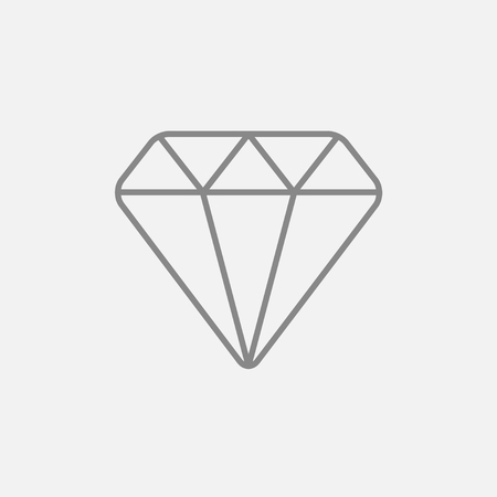 karat: Diamond line icon for web, mobile and infographics. Vector dark grey icon isolated on light grey background.