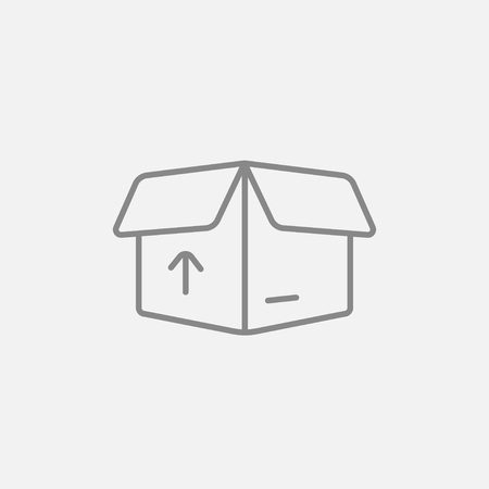 handling: Open carton package box with arrow up line icon for web, mobile and infographics. Vector dark grey icon isolated on light grey background.