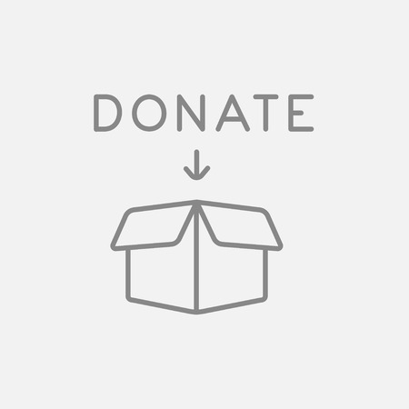 fundraiser: Open donation box line icon for web, mobile and infographics. Vector dark grey icon isolated on light grey background.
