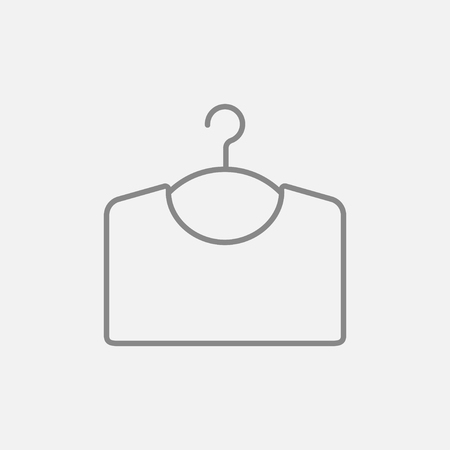 Sweater on hanger line icon for web, mobile and infographics. Vector dark grey icon isolated on light grey background.