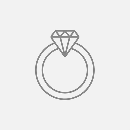 adamant: Diamond ring line icon for web, mobile and infographics. Vector dark grey icon isolated on light grey background.