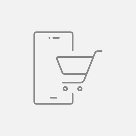 cellphone in hand: Mobile phone with shopping cart on a screen line icon for web, mobile and infographics. Vector dark grey icon isolated on light grey background. Illustration