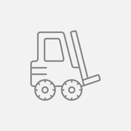 forklift: Forklift line icon for web, mobile and infographics. Vector dark grey icon isolated on light grey background. Illustration