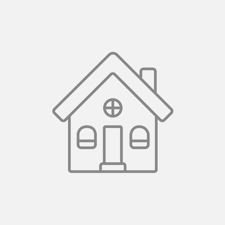 detached: Detached house line icon for web, mobile and infographics. Vector dark grey icon isolated on light grey background. Illustration