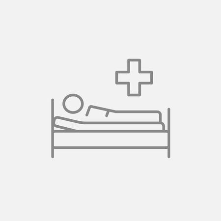 lying in bed: Patient lying on the bed line icon for web, mobile and infographics. Vector dark grey icon isolated on light grey background.