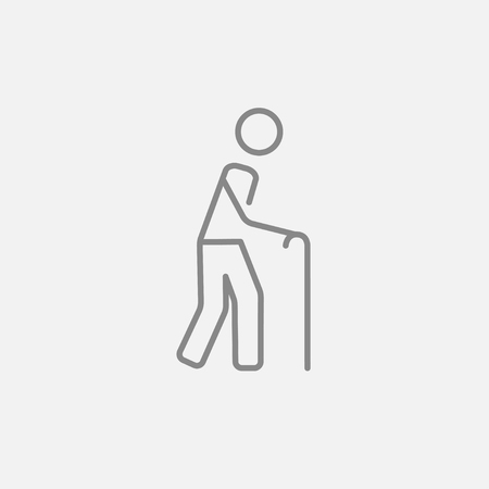 gerontology: Man walking with cane line icon for web, mobile and infographics. Vector dark grey icon isolated on light grey background.