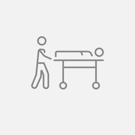 Man pushing stretchers with patient line icon for web, mobile and infographics. Vector dark grey icon isolated on light grey background. Vectores