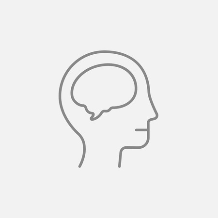 neuronal: Human head with brain line icon for web, mobile and infographics. Vector dark grey icon isolated on light grey background.