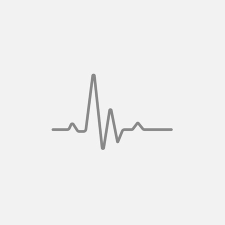 heart ekg trace: Hheart beat cardiogram line icon for web, mobile and infographics. Vector dark grey icon isolated on light grey background. Illustration