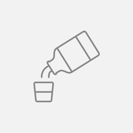 cough syrup: Medicine and measuring cup line icon for web, mobile and infographics. Vector dark grey icon isolated on light grey background. Illustration