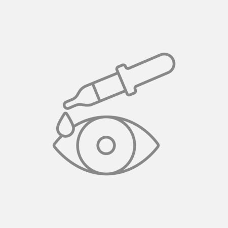 eye pipette: Pipette and eye line icon for web, mobile and infographics. Vector dark grey icon isolated on light grey background.
