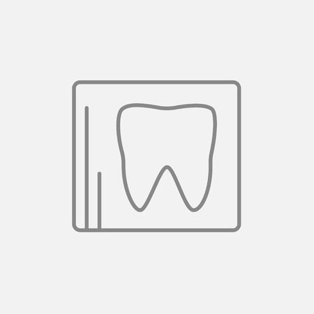 odontology: X-ray of the tooth line icon for web, mobile and infographics. Vector dark grey icon isolated on light grey background.