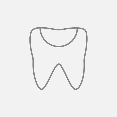 crumbling: Tooth decay line icon for web, mobile and infographics. Vector dark grey icon isolated on light grey background. Illustration