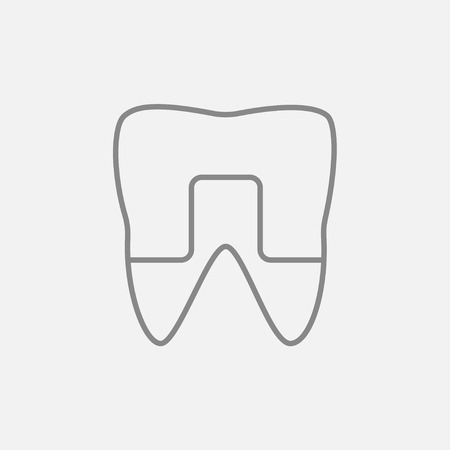 Crowned tooth line icon for web, mobile and infographics. Vector dark grey icon isolated on light grey background.