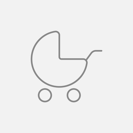 Baby stroller line icon for web, mobile and infographics. Vector dark grey icon isolated on light grey background.