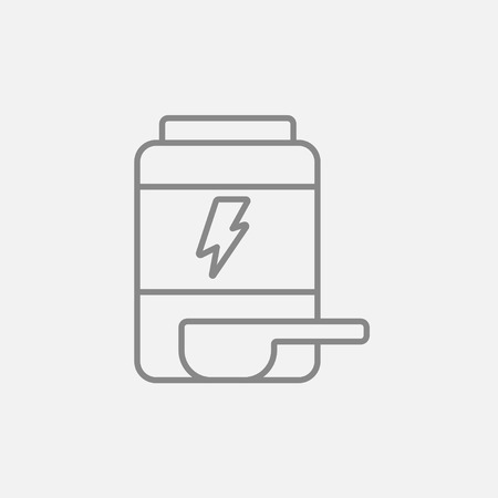 supplementation: Sport nutrition container line icon for web, mobile and infographics. Vector dark grey icon isolated on light grey background.