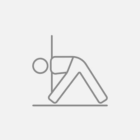 flexible: A man meditating in triangle pose line icon for web, mobile and infographics. Vector dark grey icon isolated on light grey background.